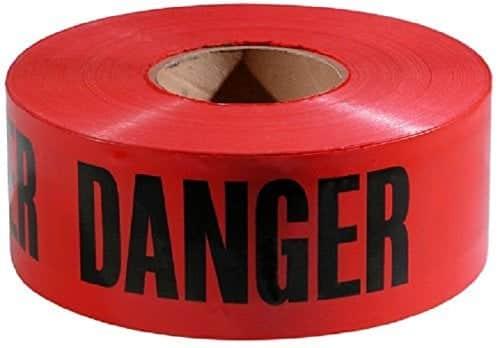 """Red Danger Barricade Tape 3"""" x 1000', (10 Pack)"""